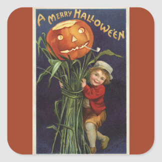 Vintage Jack-o-Lantern Cornstalk and Boy Halloween Square Sticker