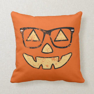 Vintage Jack-O-Lantern With Glasses Pillow