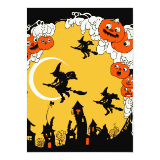 Vintage Jack o' Lanturns and Flying Witches Card