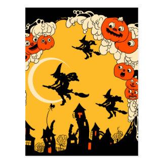 Vintage Jack o' Lanturns and Flying Witches Postcard