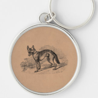 Vintage Jackal Dog 1800s Jackals Illustration Silver-Colored Round Key Ring