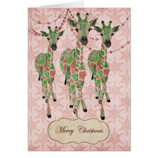 Vintage Jade Blush Giraffes Christmas Card