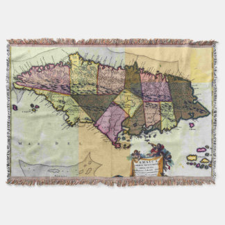 Vintage Jamaica 1680 Map Throw Blanket