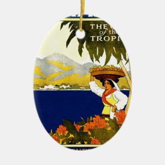 vintage-jamaica-travel-poster. ceramic ornament