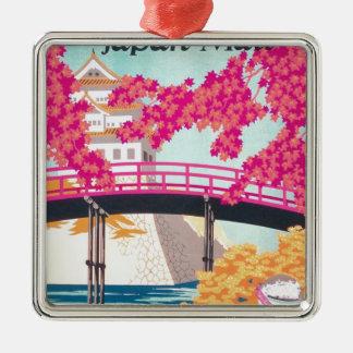 Vintage Japan Travel Poster Art Silver-Colored Square Decoration