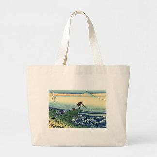 Vintage Japanese Art Kajikazawa Fisherman Large Tote Bag