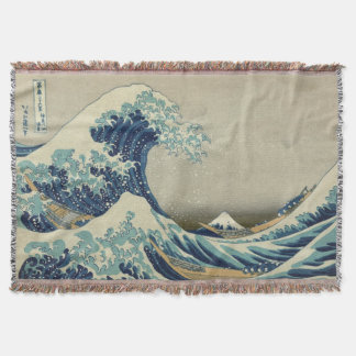 Vintage Japanese Art, The Great Wave by Hokusai Throw Blanket