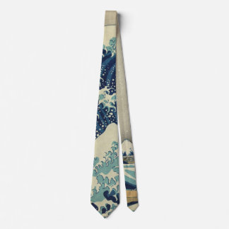 Vintage Japanese Art, The Great Wave by Hokusai Tie