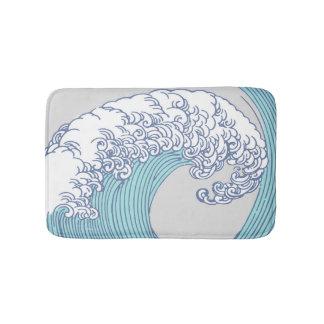 Vintage Japanese Artwork Print Wave Design Bath Mat