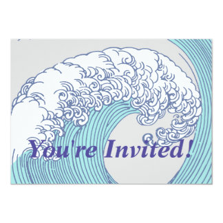 Vintage Japanese Artwork Print Wave Design Card