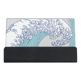 Vintage Japanese Artwork Print Wave Design Desk Business Card Holder
