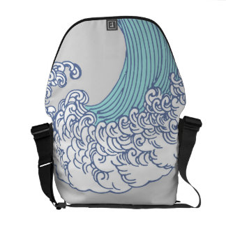 Vintage Japanese Artwork Print Wave Design Messenger Bags