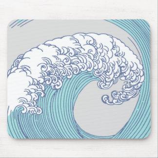 Vintage Japanese Artwork Print Wave Design Mouse Pad