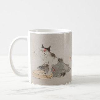 Vintage Japanese Bathing Cat Art Mug