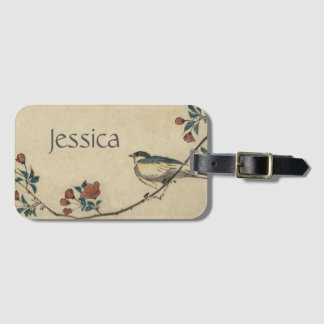 Vintage Japanese Bird and Blossom Art Luggage Tag