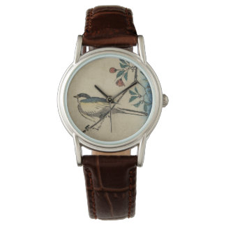 Vintage Japanese Bird and Blossom Art Watch