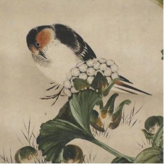 Vintage Japanese Bird Painting Standing Photo Sculpture