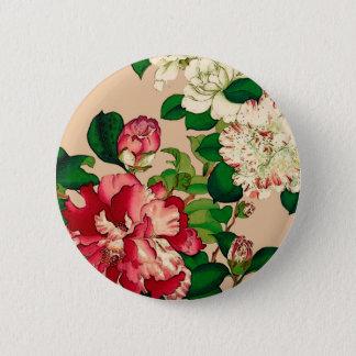 Vintage Japanese Camellias. Deep Pink on Beige 6 Cm Round Badge