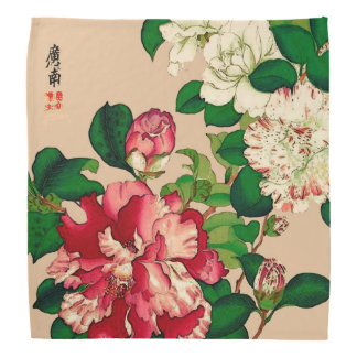 Vintage Japanese Camellias. Deep Pink on Beige Bandana