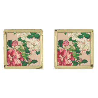 Vintage Japanese Camellias. Deep Pink on Beige Gold Finish Cuff Links