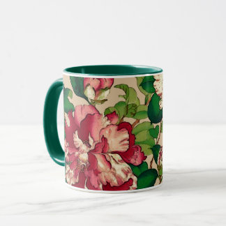 Vintage Japanese Camellias. Deep Pink on Beige Mug