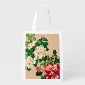 Vintage Japanese Camellias. Deep Pink on Beige Reusable Grocery Bag