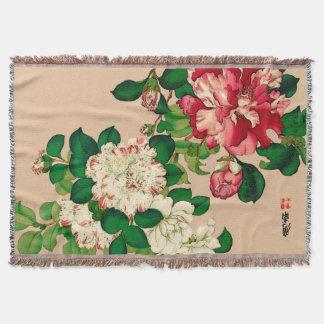 Vintage Japanese Camellias. Deep Pink on Beige Throw Blanket