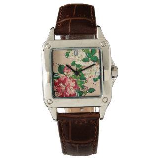 Vintage Japanese Camellias. Deep Pink on Beige Watch