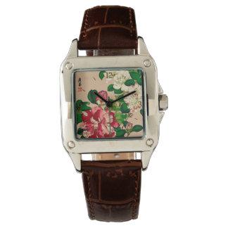 Vintage Japanese Camellias. Deep Pink on Beige Watches