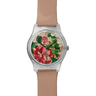 Vintage Japanese Camellias. Deep Pink on Beige Wristwatches