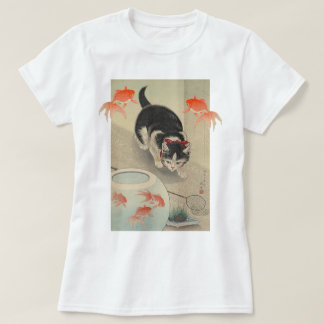 Vintage Japanese Cat and Goldfish Art T-Shirt