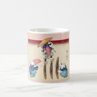 Vintage Japanese Cat Crossing to Eat Art Coffee Mug