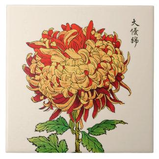 Vintage Japanese Chrysanthemum. Gold and Orange Tile