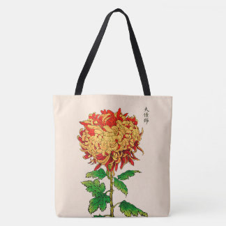 Vintage Japanese Chrysanthemum. Gold and Orange Tote Bag