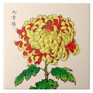 Vintage Japanese Chrysanthemum. Mustard Yellow Large Square Tile