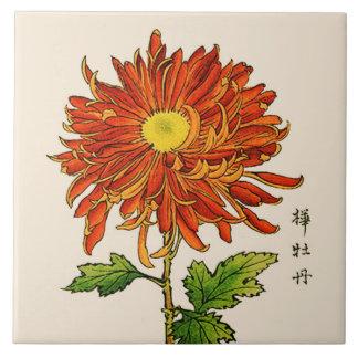 Vintage Japanese Chrysanthemum. Orange and Gold Ceramic Tile