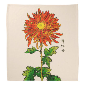 Vintage Japanese Chrysanthemum. Orange and Gold Head Kerchiefs
