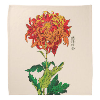 Vintage Japanese Chrysanthemum. Rust and Orange Bandannas