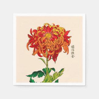 Vintage Japanese Chrysanthemum. Rust and Orange Disposable Serviettes