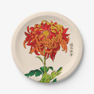 Vintage Japanese Chrysanthemum. Rust and Orange Paper Plate