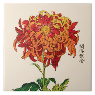 Vintage Japanese Chrysanthemum. Rust and Orange Tile