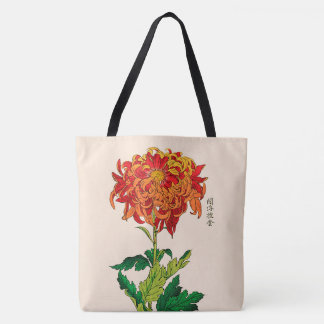 Vintage Japanese Chrysanthemum. Rust and Orange Tote Bag