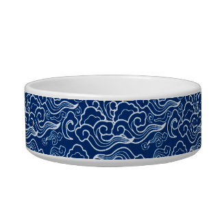 Vintage Japanese Clouds, Cobalt Blue and White Bowl