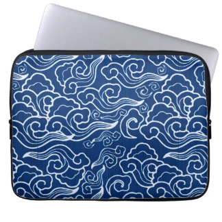 Vintage Japanese Clouds, Cobalt Blue and White Laptop Sleeve