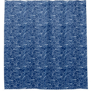 Vintage Japanese Clouds, Cobalt Blue and White Shower Curtain