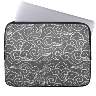 Vintage Japanese Clouds, Silver Gray / Grey Laptop Sleeve