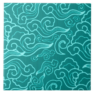 Vintage Japanese Clouds, Turquoise and Aqua Ceramic Tile