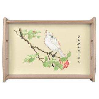Vintage Japanese Cockatoo Camellia Serving Tray