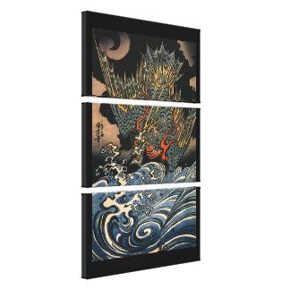 Vintage Japanese Dragon At Sea Canvas Print