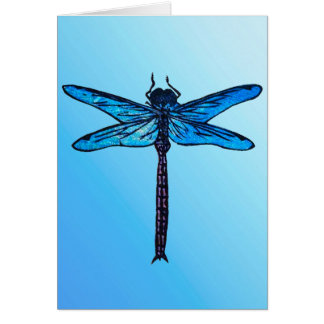 Vintage Japanese Dragonfly, sapphire blue Card
